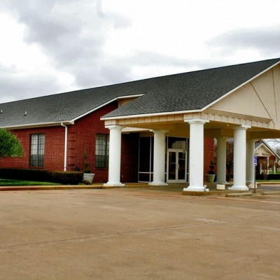 Assisted Living building entrance with columns